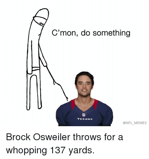 Cmon Do Something: C'mon, do something  TEXANS  ONFL MEMES Brock Osweiler throws for a whopping 137 yards.