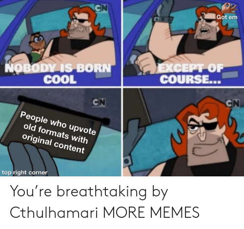 got em: CN  Got em  EXСЕPT OF  COURSE...  NOBODY IS BORN  COOL  CN  CN  People who upvote  old formats with  original content  top right corner You're breathtaking by Cthulhamari MORE MEMES