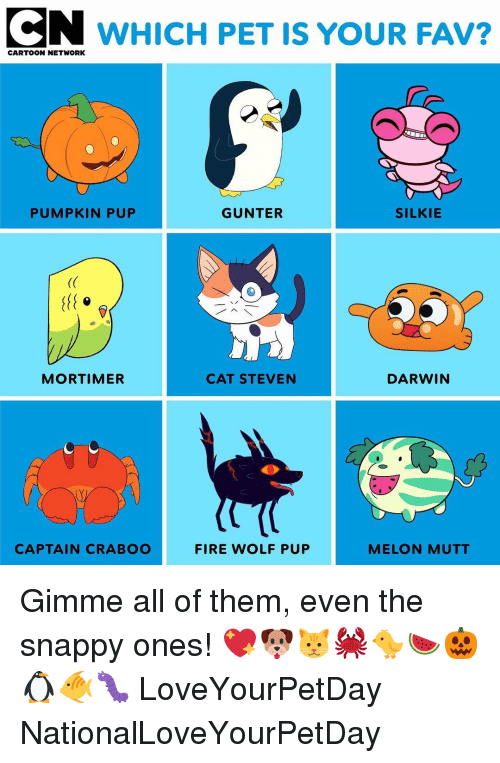 Cartoon Network: CN WHICH PET IS YOUR FAV?  CARTOON NETWORK  PUMPKIN PUP  GUNTER  SILKIE  (C  MORTIMER  CAT STEVEN  DARWIN  CAPTAIN CRABOO  FIRE WOLF PUP  MELON MUTT Gimme all of them, even the snappy ones! 💖🐶🐱🦀🐤🍉🎃🐧🐠🐛 LoveYourPetDay NationalLoveYourPetDay