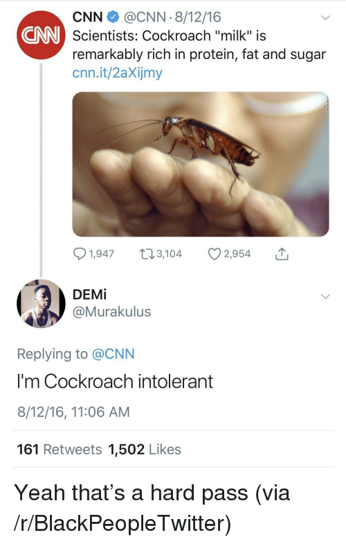 """cockroach: CNN@CNN 8/12/16  Scientists: Cockroach """"milk"""" is  remarkably rich in protein, fat and sugar  cnn.it/2aXijmy  CNN  1,947, 2,954  DEMİ  @Murakulus  Replying to @CNN  I'm Cockroach intolerant  8/12/16, 11:06 AM  161 Retweets 1,502 Likes Yeah that's a hard pass (via /r/BlackPeopleTwitter)"""
