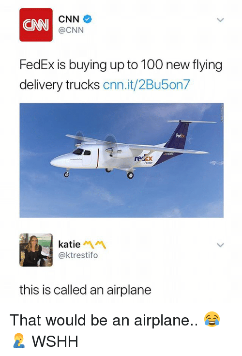 Anaconda, cnn.com, and Memes: CNN  CNN  @CNN  FedEx is buying up to 100 new flying  delivery trucks cnn.it/2Bu5on7  Fedix  rercx  Feeder  katie  @ktrestifo  this is called an airplane That would be an airplane.. 😂🤦‍♂️ WSHH
