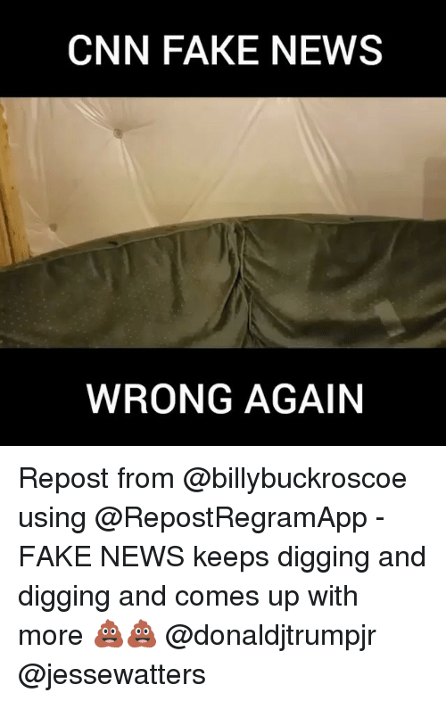 cnn.com, Fake, and Memes: CNN FAKE NEWS  WRONG AGAIN Repost from @billybuckroscoe using @RepostRegramApp - FAKE NEWS keeps digging and digging and comes up with more 💩💩 @donaldjtrumpjr @jessewatters