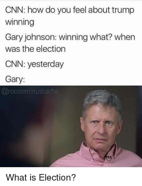 gary johnson: CNN: how do you feel about trump  winning  Gary johnson: winning what? when  was the election  CNN: yesterday  Gary:  @roostermustac <p>What is Election?</p>
