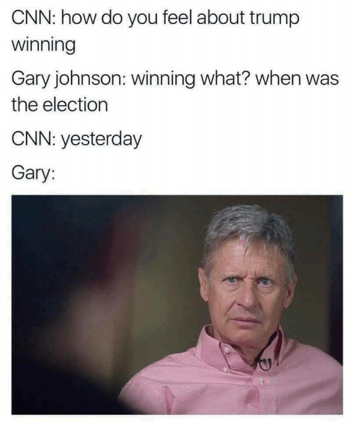 Trump Winning: CNN: how do you feel about trump  winning  Gary johnson: winning what? when was  the election  CNN: yesterday  Gary: