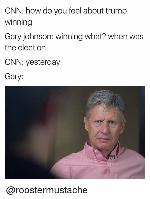 gary johnson: CNN: how do you feel about trump  Winning  Gary johnson: winning What? When was  the election  CNN: yesterday  Gary @roostermustache