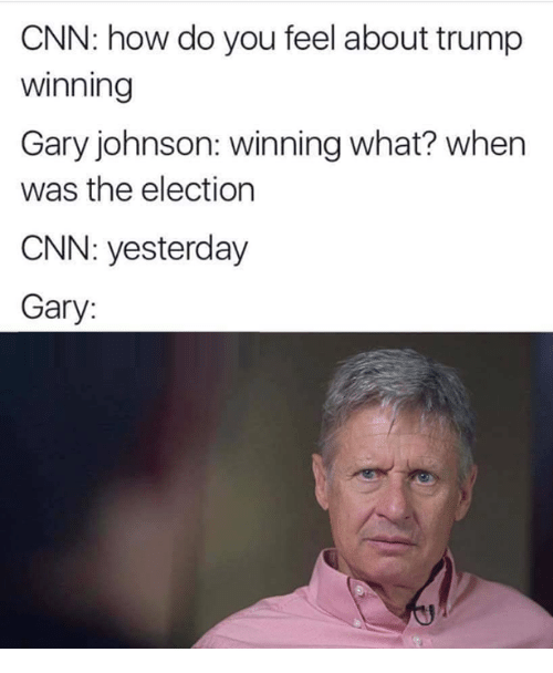 gary johnson: CNN: how do you feel about trump  Winning  Gary johnson: winning what? when  was the election  CNN: yesterday  Gary: