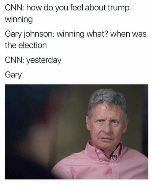 Trump Winning: CNN: how do you feel about trump  Winning  Gary johnson: winning what? when was  the election  CNN: yesterday  Gary