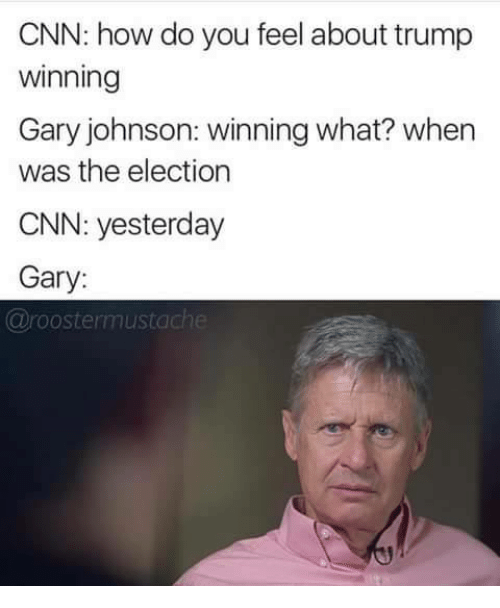 gary johnson: CNN: how do you feel about trump  Winning  Gary johnson: winning what? when  was the election  CNN: yesterday  Gary:  @roostermustach