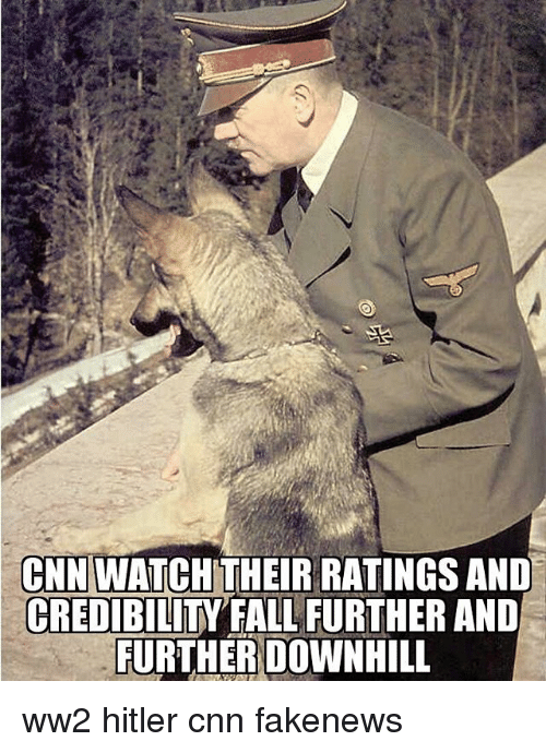 cnn.com, Fall, and Memes: CNN WATCH THEIR RATINGS ANID  CREDIBILITY FALL FURTHER AND  FURTHERDOWNHILL ww2 hitler cnn fakenews