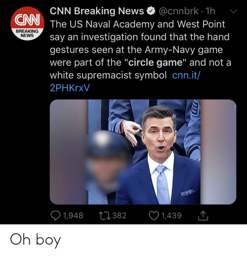 "The Circle Game: @cnnbrk · 1h  CNN Breaking News  The US Naval Academy and West Point  say an investigation found that the hand  gestures seen at the Army-Navy game  were part of the ""circle game"" and not a  white supremacist symbol cnn.it/  CNN  BREAKING  NEWS  2PHKrxV  ♡ 1,948  27382  1,439  <] Oh boy"