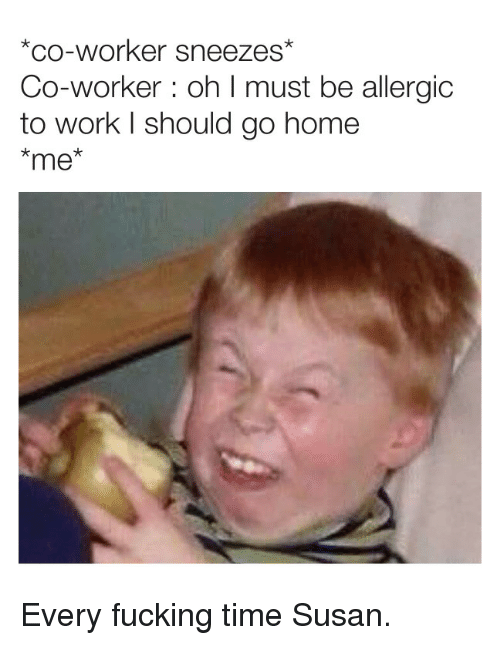sneezes: *co-worker sneezes  Co-worker: oh I must be allergic  to work l should go home  *me Every fucking time Susan.