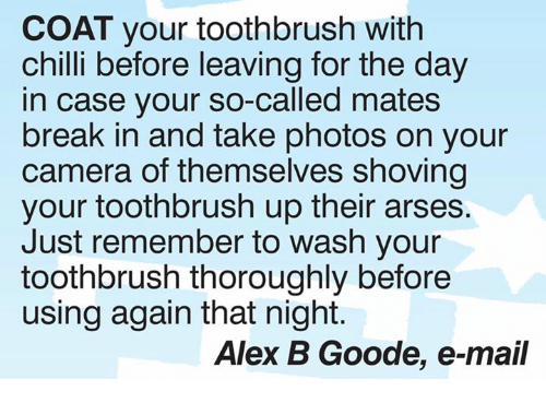 Chillys: COAT your toothbrush with  chilli before leaving for the day  in case your so-called mates  break in and take photos on your  camera of themselves shoving  your toothbrush up their arses.  Just remember to wash your  toothbrush thoroughly before  using again that night.  Alex B Goode, e-mail