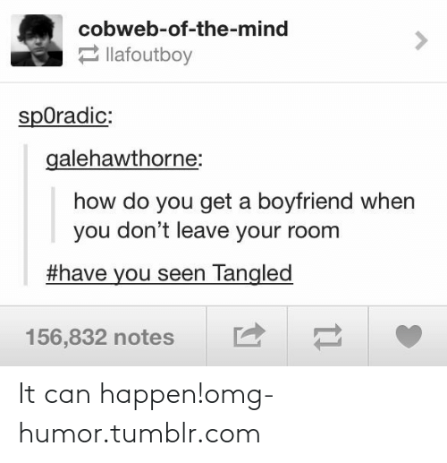 Boyfriend: cobweb-of-the-mind  2 llafoutboy  spOradic:  galehawthorne:  how do you get a boyfriend when  you don't leave your room  #have you seen Tangled  156,832 notes It can happen!omg-humor.tumblr.com
