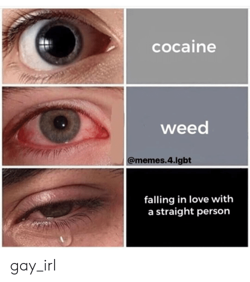 Weed Memes: cocaine  weed  @memes.4.lgbt  falling in love with  a straight person gay_irl