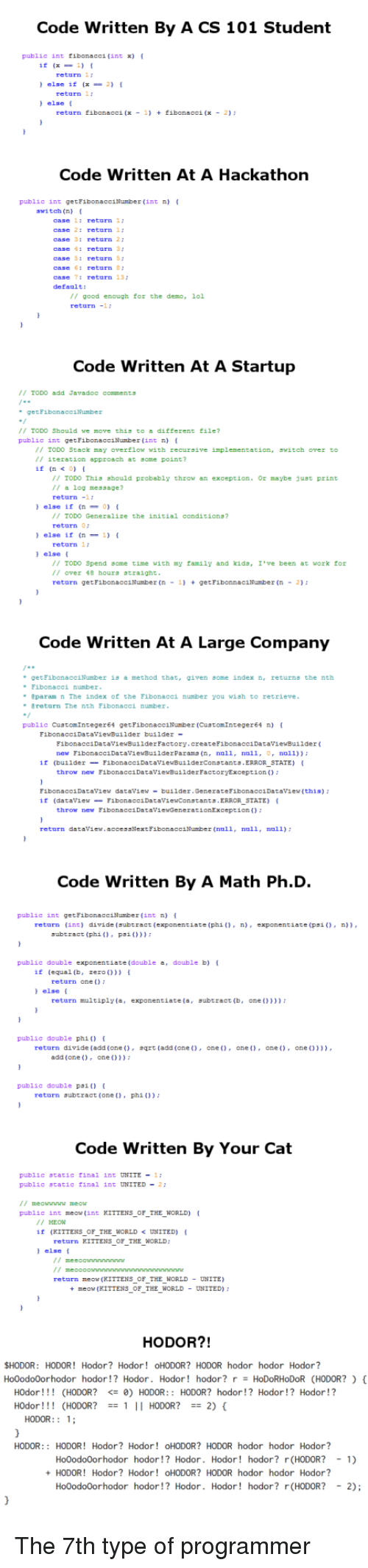 """demo: Code Written By A CS 101 Student  public int tibonacci (int x)  (x1)  else if (x-2)  else  return 1:  return 1  return fibonacci(x- 1) + fibanacci (x - 2)3  Code Written At A Hackathon  pubiic int getFibonacciNumber (int n)  switch (n) [  case 1: return 17  case 2: return 1:  case 3: return 27  case : return 3  case S: returnS  case 6: return  case 7: return 13  default:  // good enough for the demo, 1ol  return-1  Code Written At A Startup  // TODO add Javadoc comment큐  /I TOD0 Should we move this to a different file?  public int getFibonacciNunber (int n) t  // TODO Stack may overflow with recursive implementation. ฐพ1tch over to  // iteration approach at some point?  if n< 0)  TODO This should probably throw an exception. Or maybe just print  /I a log message?  return-1  else if0)  I TODO Generalize the initial conditions?  return  else if (n1)  return1  else [  // TODO Spend some time with薑y family and kida, 1.ve been at work tor  // over 钅8 hour3 きtraight  return getFibonacciNumber (ngetFibonnaciNumber (n2)  Code Written At A Large Company  i8 a method that, agiven some index n returns the nch  get  Eibonacei number  """" eparam n The index of the Fibonacei number you wish to retrieve  return The nth Fibonacci number  public CustomInteger64 getFibonacciNumber (CustomInteger64 n)  FibonacciDataviewBu11dex bui1der  FibonacciDataviewBu1lderFactory.createF bonacciDataviewBaiider  new F1bonacciDatavievBuilderParana (n, null, null, , ll))  ir (bu1ider-FibonaccibataviewBu1lderConatanta.ERROR STATE)  throw new FibonacciDatavievBuilderFactoryException  FibonacciDataview dataview-bu1lder.GenerateFibonacciDataview (this)  if (datav1e낱--F1bonacc1Datav!ewConstants.ERRORSTATE) (  -  throw new FibonacciDatavievGenerationException  return dataview.accessNextFibonacciNumber (null, null, null)  Code Written By A Math Ph.D.  public int geth  r(int n)  {  return (int) divide (aubtract (exponentiate (phi0)xponentiate (ps0, ))  subtract (phi0 P:0D  public double exponentiate (dou"""