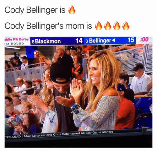 All Star, Game, and Star: Cody Bellinger is o  Cody Bellinger's mom is  obile HR Derby P  ist ROUND  6 Blackmon  14 3 Bellinger  15  :00  THE LEAD  Max Scherzer and Chris Sale named All-Star Game starters