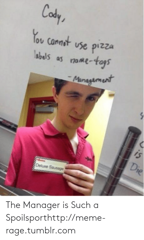 pizza: Cody,  You cannot use pizza  nome-togs  labels as  Munagement  is  Die  Deluxe Sausage The Manager is Such a Spoilsporthttp://meme-rage.tumblr.com