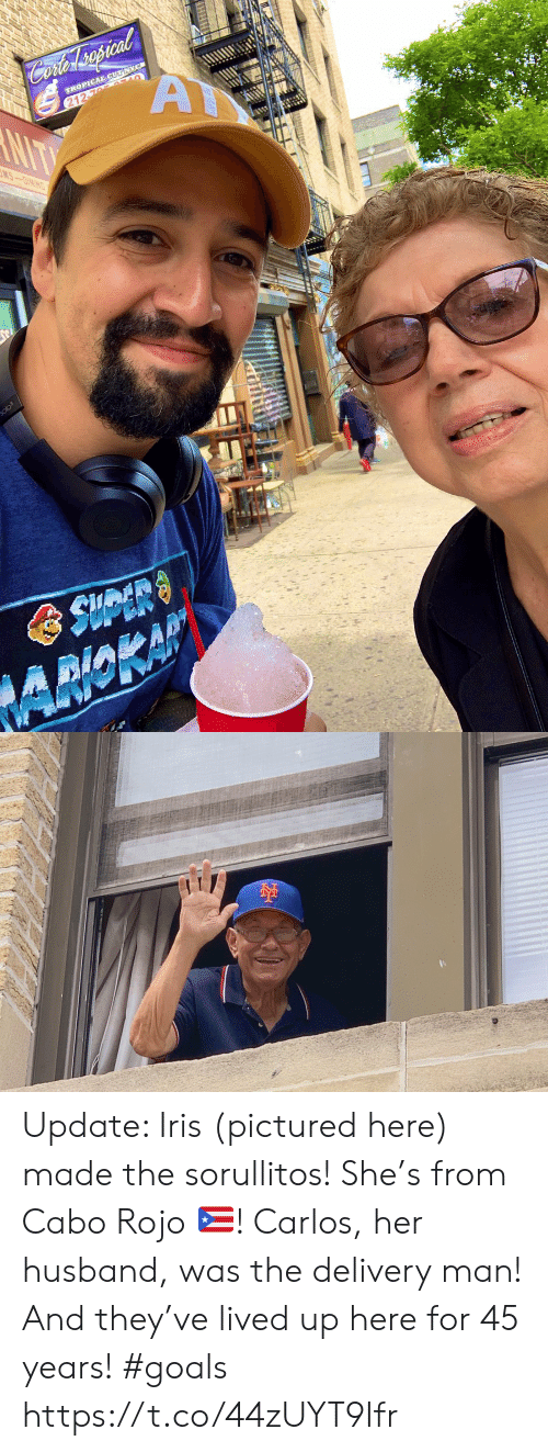 delivery man: Cofer spcal  A  TROPICAL CUT NYC  212-76 AULO  NIT  MS-OINING  olo3  AMOKAP Update: Iris (pictured here) made the sorullitos! She's from Cabo Rojo 🇵🇷! Carlos, her husband, was the delivery man! And they've lived up here for 45 years! #goals https://t.co/44zUYT9Ifr
