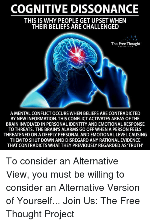 rationalization: COGNITIVE DISSONANCE  THIS IS WHY PEOPLE GET UPSET WHEN  THEIR BELIEFS ARE CHALLENGED  The Free Thought  A MENTAL CONFLICT OCCURS WHEN BELIEFS ARE CONTRADICTED  BY NEW INFORMATION. THIS CONFLICT ACTIVATES AREAS OFTHE  BRAIN INVOLVED IN PERSONAL IDENTITY AND EMOTIONAL RESPONSE  TO THREATS. THE BRAIN'S ALARMS GO OFF WHEN A PERSON FEELS  THEMTO SHUT DOWN AND DISREGARD ANY RATIONAL EVIDENCE  THAT CONTRADICTS WHAT THEY PREVIOUSLY REGARDED AS'TRUTH To consider an Alternative View, you must be willing to consider an Alternative Version of Yourself...  Join Us: The Free Thought Project