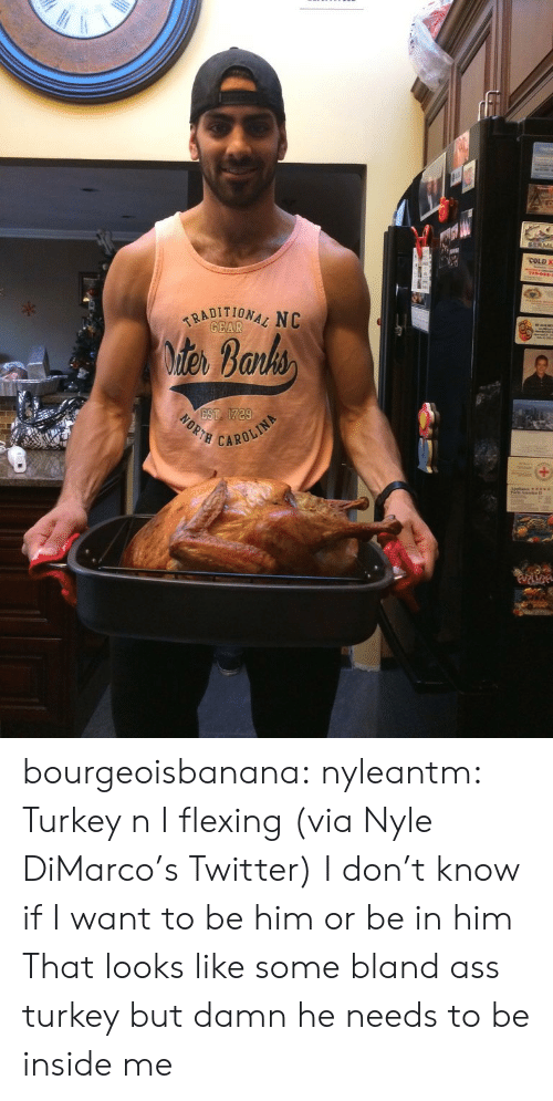 iter: COLD K  7160  TRADITIONAL NC  GEAR  iter Barks  EST 1729  NORTH  CAROLIN bourgeoisbanana:  nyleantm:    Turkey n I flexing(via Nyle DiMarco's Twitter)   I don't know if I want to be him or be in him  That looks like some bland ass turkey but damn he needs to be inside me
