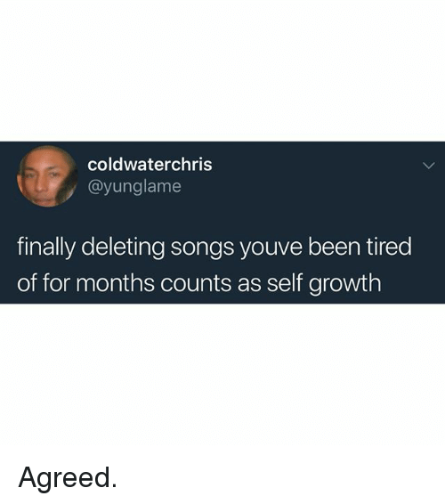Memes, Songs, and Been: coldwaterchris  @yunglame  finally deleting songs youve been tired  of for months counts as self growth Agreed.