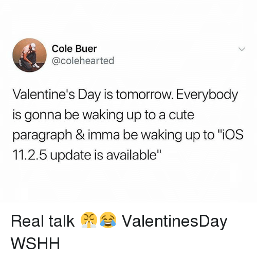 """Cute, Memes, and Valentine's Day: Cole Buer  @colehearted  Valentine's Day is tomorrow. Everybody  is gonna be waking up to a cute  paragraph & imma be waking up to """"iOS  11.2.5 update is available"""" Real talk 😤😂 ValentinesDay WSHH"""