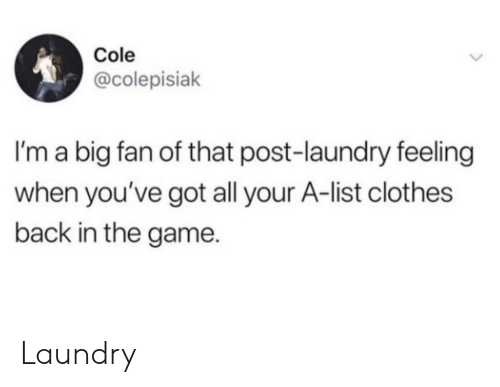 Youve Got: Cole  @colepisiak  I'm a big fan of that post-laundry feeling  when you've got all your A-list clothes  back in the game. Laundry