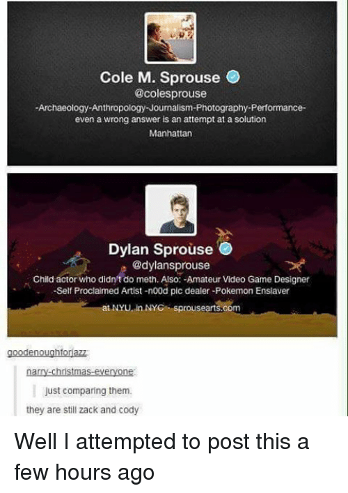 Amateurly: Cole M. Sprouse  @coles prouse  Archaeology Anthropology Journalism-Photography-Performance-  even a wrong answer is an attempt at a solution  Manhattan  Dylan Sprouse  @dylans prouse  Child actor who didn't do meth. Also: -Amateur Video Game Designer  -Self Proclaimed Artist -n00d pic dealer-Pokemon Ensiaver  NYU in NYC Sprousearts.com  en  narry-christmas-everyone  Just comparing them.  they are still zack and cody Well I attempted to post this a few hours ago