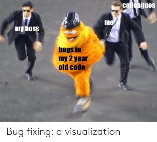 colleagues: colleagues  me  my boss  bugs in  my 2 year  old code Bug fixing: a visualization