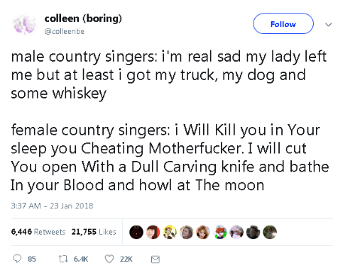 I Will Kill You: colleen (boring)  @colleentie  Follow  male country singers: i'm real sad my lady left  me but at least i got my truck, my dog and  some whiskey  female country singers: i Will Kill you in Your  sleep you Cheating Motherfucker. I will cut  You open With a Dull Carving knife and bathe  In your Blood and howl at The moon  3:37 AM - 23 Jan 2018  6446 Retweets 21.755 Likes  ว