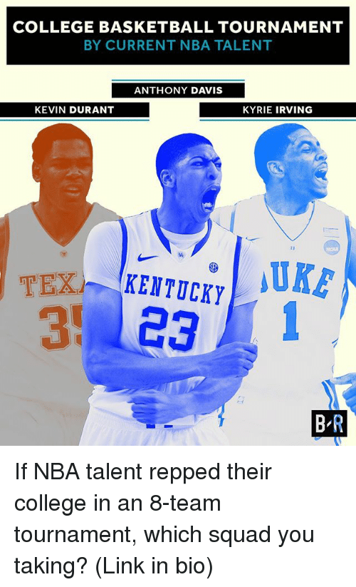 Basketball, College, and College Basketball: COLLEGE BASKETBALL TOURNAMENT  BY CURRENT NBA TALENT  ANTHONY DAVIS  KEVIN DURANT  KYRIE IRVING  MUKE  KENTUCKY  BR If NBA talent repped their college in an 8-team tournament, which squad you taking? (Link in bio)