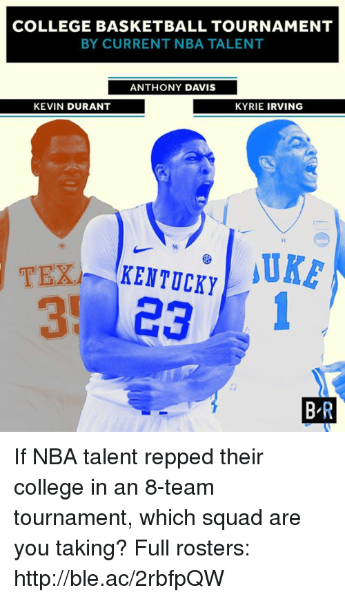 College basketball: COLLEGE BASKETBALL TOURNAMENT  BY CURRENT NBA TALENT  ANTHONY DAVIS  KYRIE IRVING  KEVIN DURANT  TEX  KENTUCKY  ea  BR If NBA talent repped their college in an 8-team tournament, which squad are you taking?  Full rosters: http://ble.ac/2rbfpQW