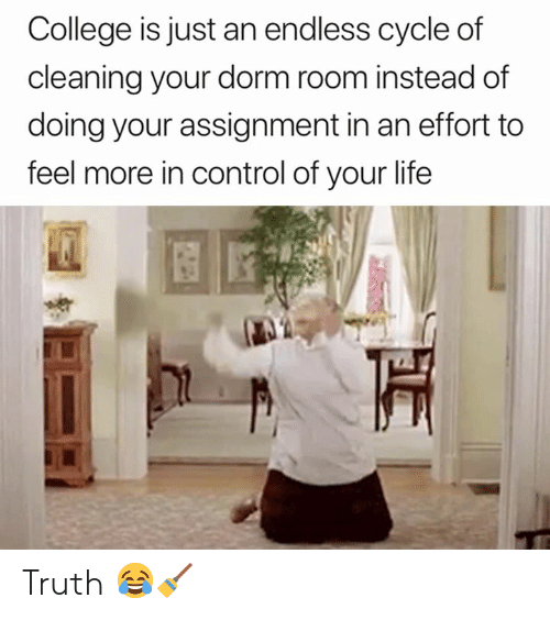 dorm: College is just an endless cycle of  cleaning your dorm room instead of  doing your assignment in an effort to  feel more in control of your life Truth 😂🧹