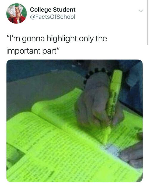 """highlight: College Student  @FactsOfSchool  """"I'm gonna highlight only the  important part"""""""