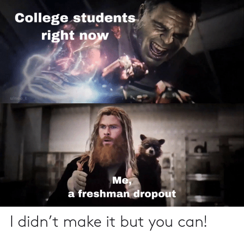 neo: College students  right now  u/neo_t  Me  a freshman dropout I didn't make it but you can!