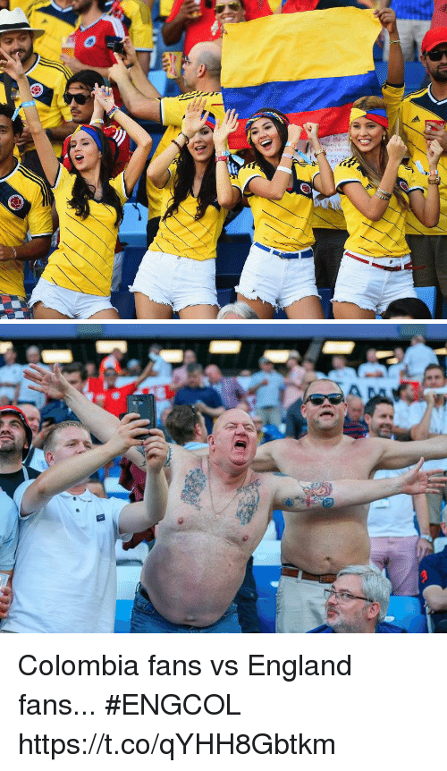 England, Soccer, and Colombia: Colombia fans vs England fans...  #ENGCOL https://t.co/qYHH8Gbtkm