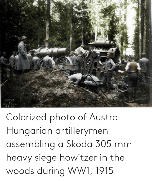 skoda: Colorized photo of Austro-Hungarian artillerymen assembling a Skoda 305 mm heavy siege howitzer in the woods during WW1, 1915
