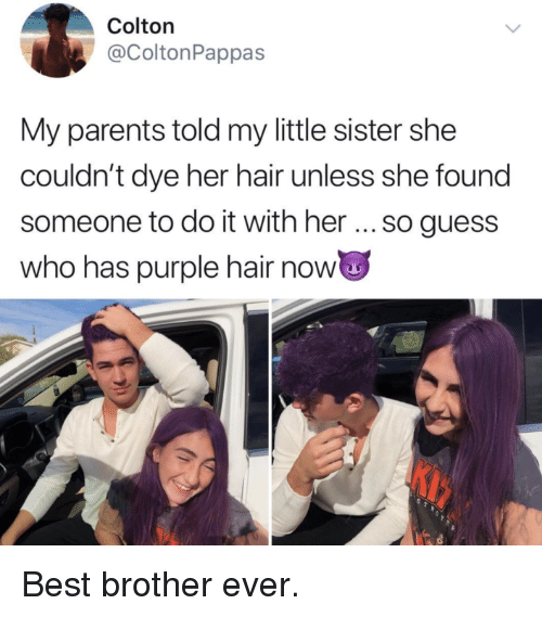 Colton: Colton  @ColtonPappas  My parents told my little sister she  couldn't dye her hair unless she found  someone to do it with her so guess  who has purple hair now <p>Best brother ever.</p>