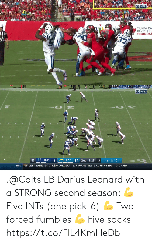 Leonard: .@Colts LB Darius Leonard with a STRONG second season:  💪 Five INTs (one pick-6) 💪 Two forced fumbles 💪 Five sacks https://t.co/FIL4KmHeDb
