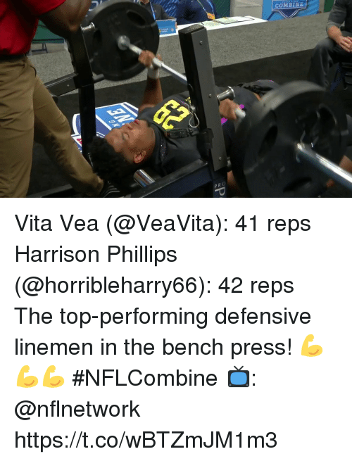 Memes, 🤖, and Top: COMBINE Vita Vea (@VeaVita): 41 reps Harrison Phillips (@horribleharry66): 42 reps  The top-performing defensive linemen in the bench press! 💪💪💪  #NFLCombine  📺: @nflnetwork https://t.co/wBTZmJM1m3