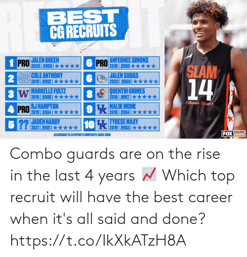 career: Combo guards are on the rise in the last 4 years 📈   Which top recruit will have the best career when it's all said and done? https://t.co/IkXkATzH8A
