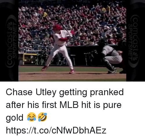 Memes, Mlb, and Chase: (Comcast s  SPOR Chase Utley getting pranked after his first MLB hit is pure gold 😂🤣 https://t.co/cNfwDbhAEz