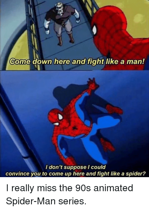 Funny, Spider, and SpiderMan: Come down here and fight like a man!  I don't suppose I could  convince you to come up here and fight like a spider? I really miss the 90s animated Spider-Man series.