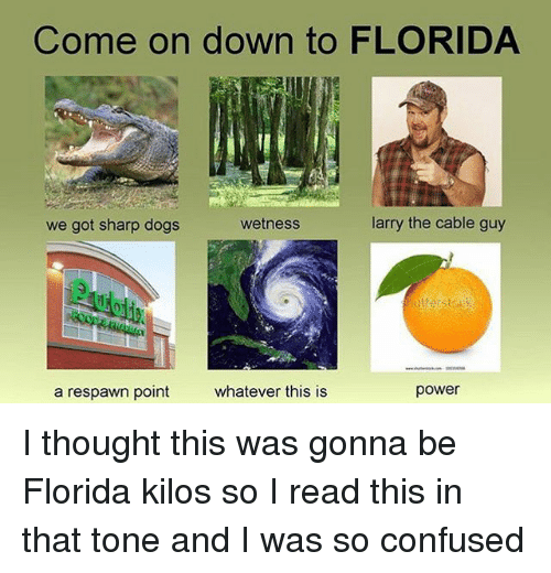Confused, Dank, and Dogs: Come on down to FLORIDA  we got sharp dogs  wetness  larry the cable guy  a respawn point  whatever this is  power I thought this was gonna be Florida kilos so I read this in that tone and I was so confused