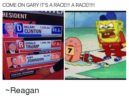 USABall: COME ON GARY IT'S A RACE!!! A RACE!!!!!  MESIDENT  N HILLARY 1,914,661  49.3  CLINTON  DONALD 1,894,188  D 47.3  TRUMP  CLEVELAND  92,246  2.3  JOHNSON  PERCENT REPORTING ~Reagan