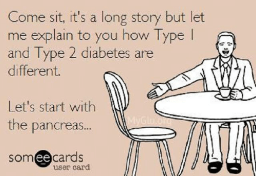 Ee Cards: Come sit, it's a long story but let  me explain to you how Type  l  and Type 2 diabetes are  different.  Let's start with  the pancreas  ee  cards  user card.