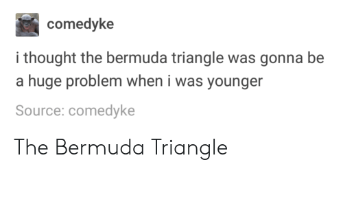 Bermuda Triangle: comedyke  i thought the bermuda triangle was gonna be  a huge problem when i was younger  Source: comedyke The Bermuda Triangle