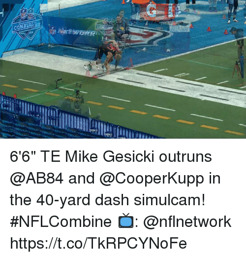 "Memes, 🤖, and Dash: COMI  18 6'6"" TE Mike Gesicki outruns @AB84 and @CooperKupp in the 40-yard dash simulcam! #NFLCombine  📺: @nflnetwork https://t.co/TkRPCYNoFe"