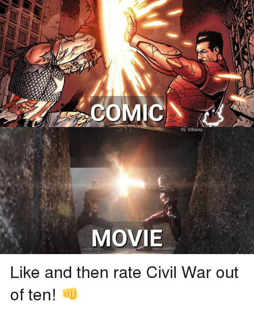Memes, Civil War, and Movie: COMIC  MOVIE  IG: Villains Like and then rate Civil War out of ten! 👊