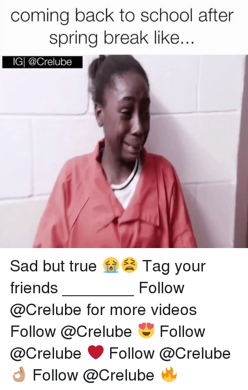 Memes, 🤖, and Sadness: coming back to school after  spring break like  IGI @Crelube Sad but true 😭😫 Tag your friends ________ Follow @Crelube for more videos Follow @Crelube 😍 Follow @Crelube ❤ Follow @Crelube 👌🏽 Follow @Crelube 🔥